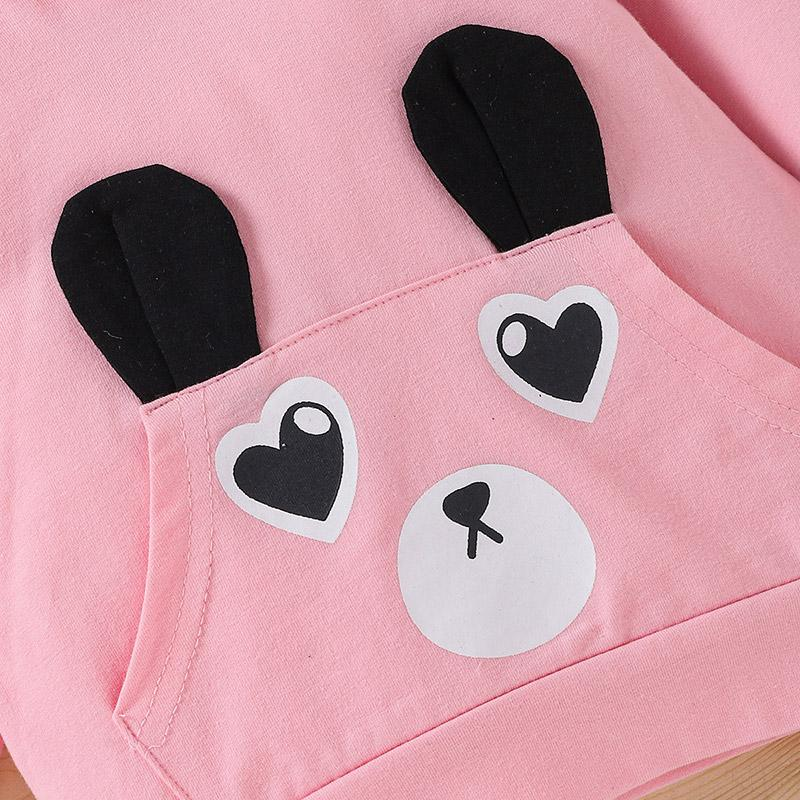 2-piece Bear Pattern Hoodie & Pants for Toddler Girl