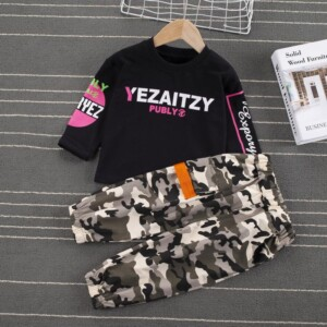 2-piece Sweatshirt & Camouflage Pants for Toddler Boy