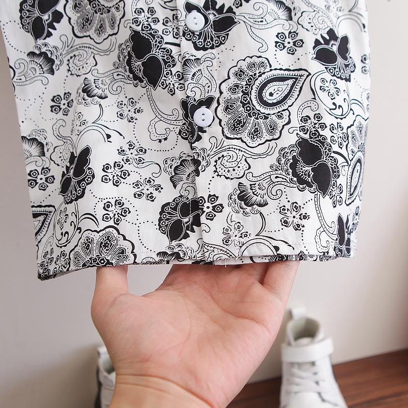 2-piece Boho Print Short Sleeve Shirt & Shorts for Toddler Boy