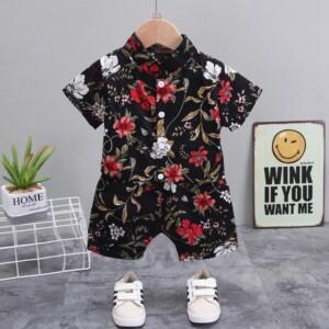 2-piece Floral Short Sleeve Shirt & Floral Shorts for Toddler Boy
