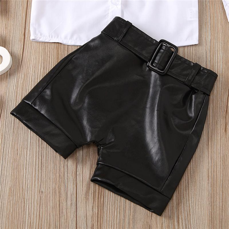 2-piece Shirt & Shorts Leather Pants for Toddler Girl