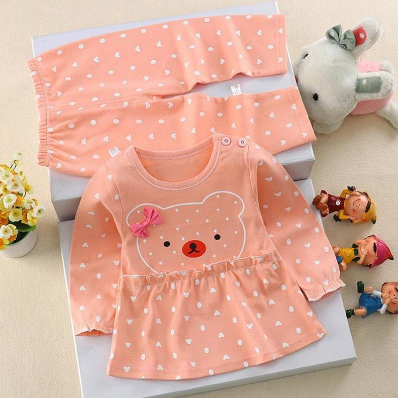2-piece Bear Pattern Suit for Baby Girl