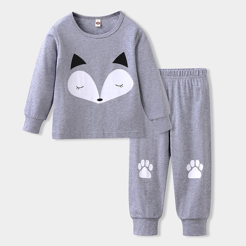 2-piece Fox Pattern Pajamas Sets for Toddler Girl