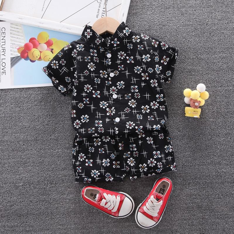 2-piece Floral Short Sleeve Shirt & Floral Shorts for Toddler Boy