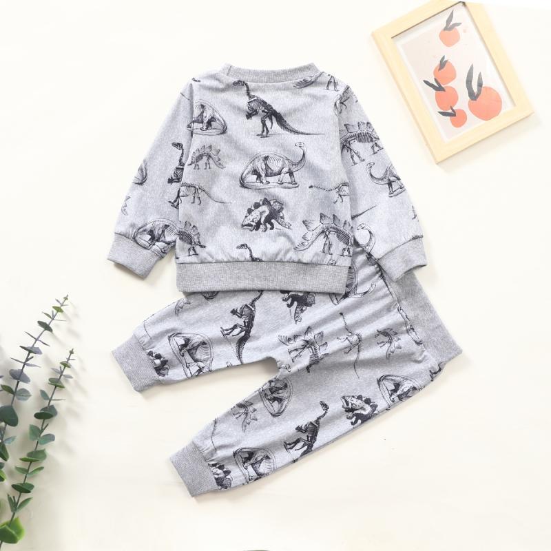 2-piece Dinosaur Pattern Sweatshirts & Pants for Baby Boy