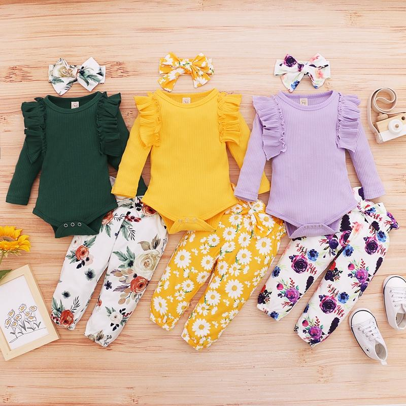 3pcs Leaf Sleeve Bodysuit and Pants Set