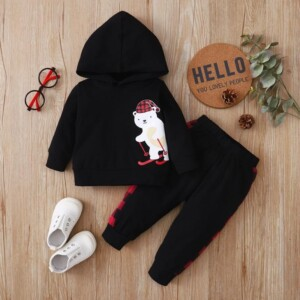 2-piece Bear Pattern Hoodie & Pants for Baby Boy