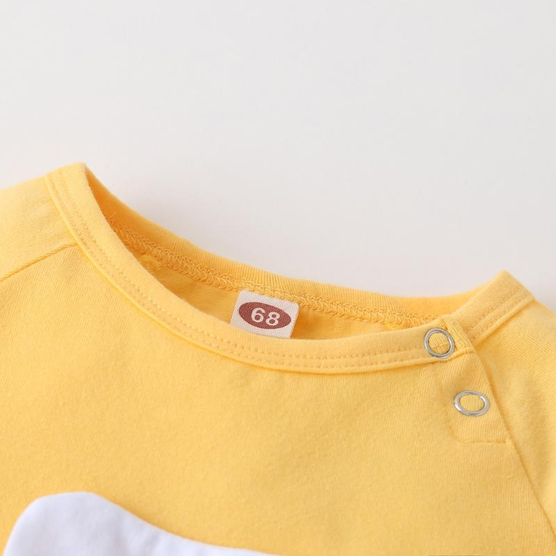 Fried Egg Print Short Sleeve Jumpsuit for Baby