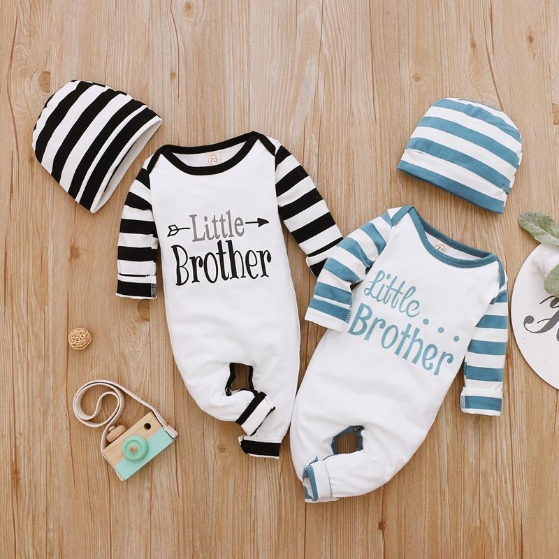 Striped Letter Print Long-sleeved Jumpsuit with Hat