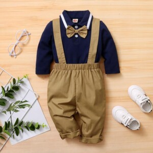 2-piece Bowknot Polo Shirt & Bib Pants for Baby Boy
