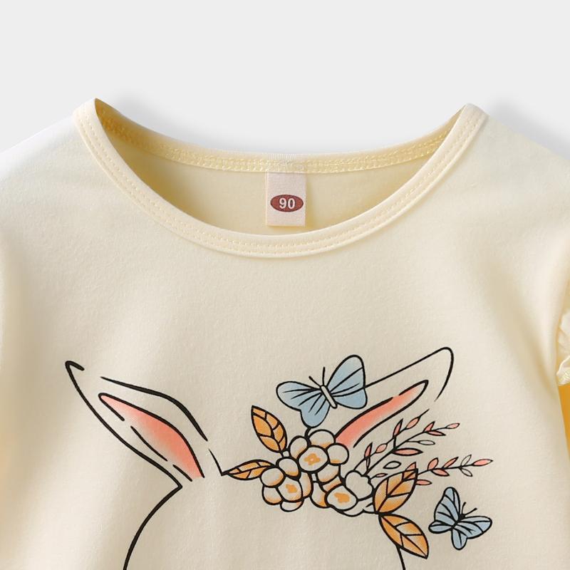 2-piece Rabbit Pattern Pajamas Sets for Toddler Girl