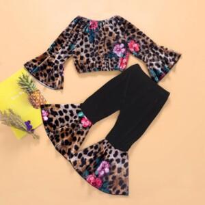 2-piece Leopard Velvet Suit for Toddler Girl