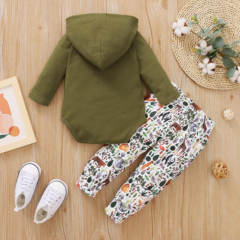 2-piece Hooded Romper & Animal Printing Pants for Baby Boy