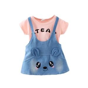 Cartoon Suspender Dress for Toddler Girl
