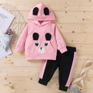 2-piece Bear Pattern Hoodie & Pants for Toddler Girl