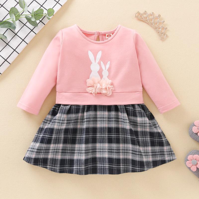 Rabbit Pattern Plaid Dress for Baby Girl