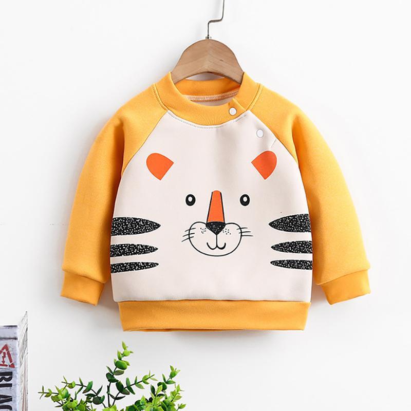 Animal Pattern Fleece-lined Sweatshirt for Toddler Girl