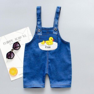 Duck Pattern Bib Pants for Toddler Boy