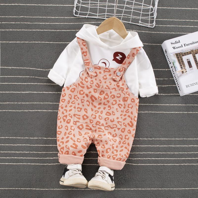 2-piece Hoodie & Leopard Bib Pants for Toddler Girl