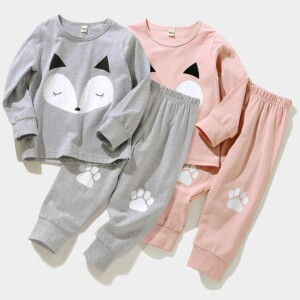 2-piece Fox Pattern Pajamas Sets for Toddler Girl