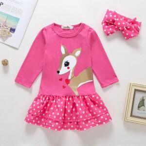 2-piece Cartoon Deer Pattern Dress & Headband for Toddler Girl