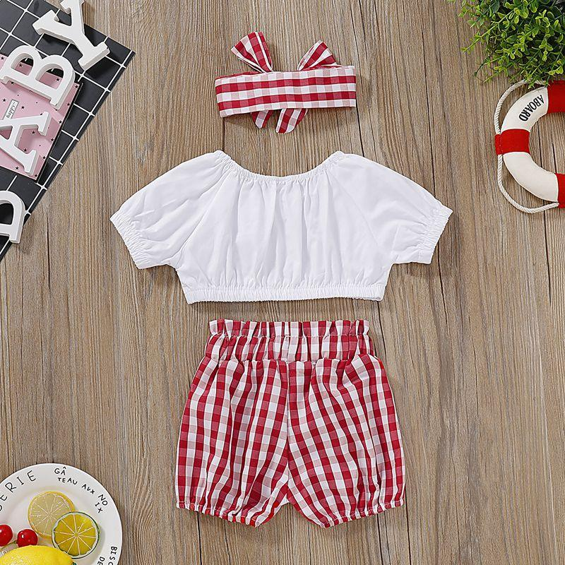3-piece T-shirt & Headband & Plaid Shorts for Baby Girl