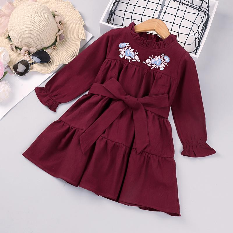 Embroidery Flowers Dress & Waistband for Toddler Girl