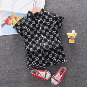 2-piece Plaid Short Sleeve Shirt & Plaid Shorts for Toddler Boy