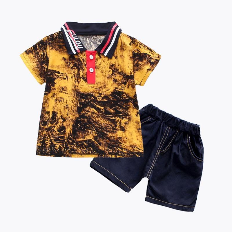 2-piece Gradient Polo Shirt & Shorts for Toddler Boy