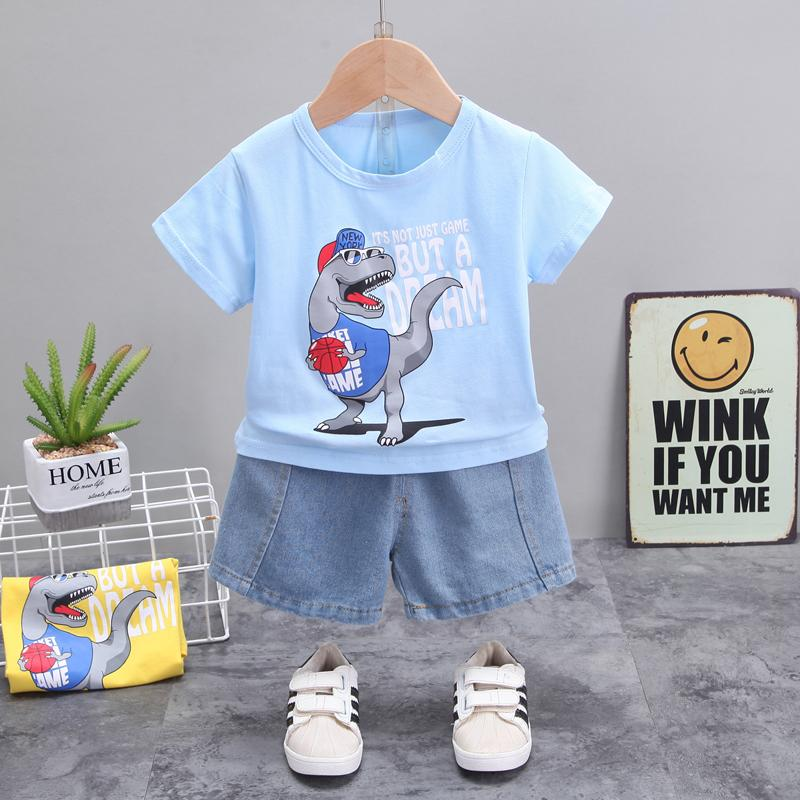 2-piece Dinosaur Pattern T-shirt & Shorts for Toddler Boy
