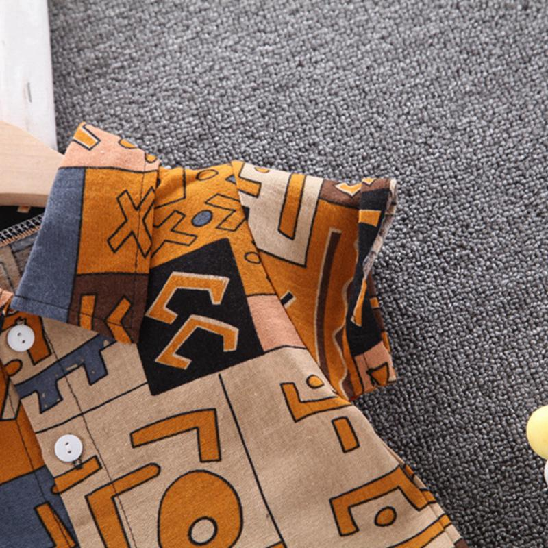 2-piece Letter Pattern Short Sleeve Shirt & Shorts for Toddler Boy