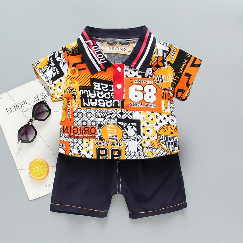 2-piece Letter Pattern Polo Shirt & Shorts for Toddler Boy