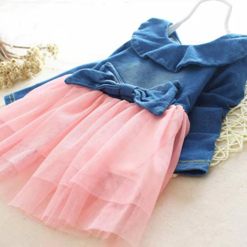 Denim Sleeveless Mesh Dress