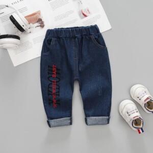 Letter Pattern Jeans for Toddler Boy
