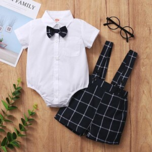 2-piece Romper & Plaid Bib Shorts for Baby Boy