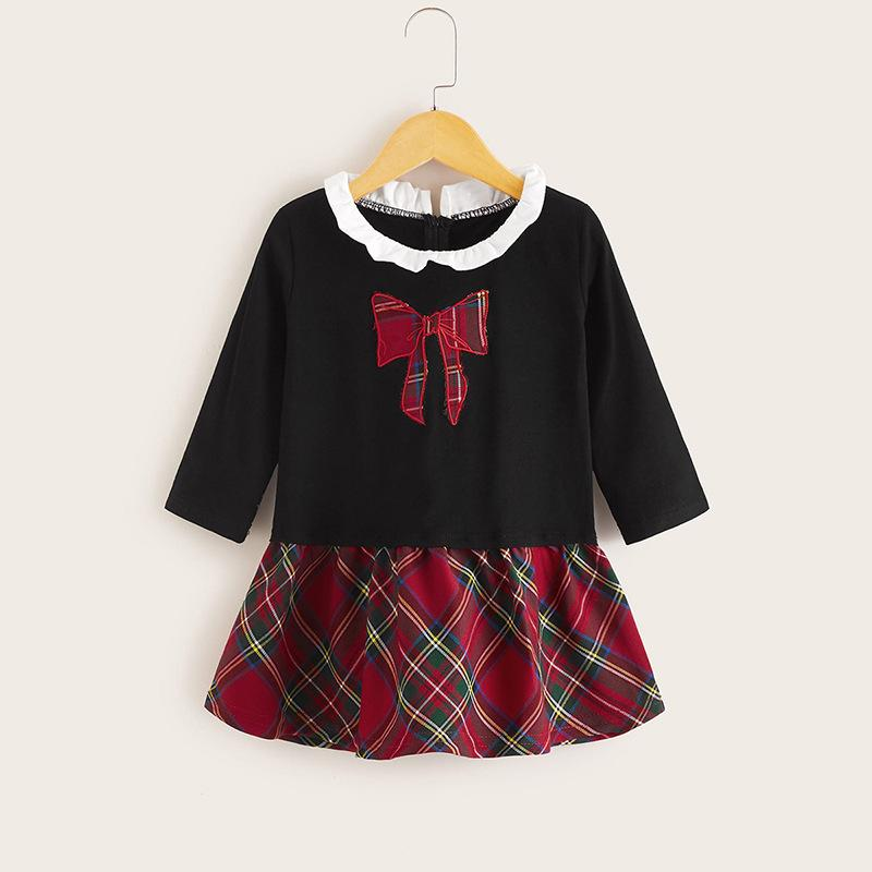 Plaid Long Sleeve Dress for Toddler Girl