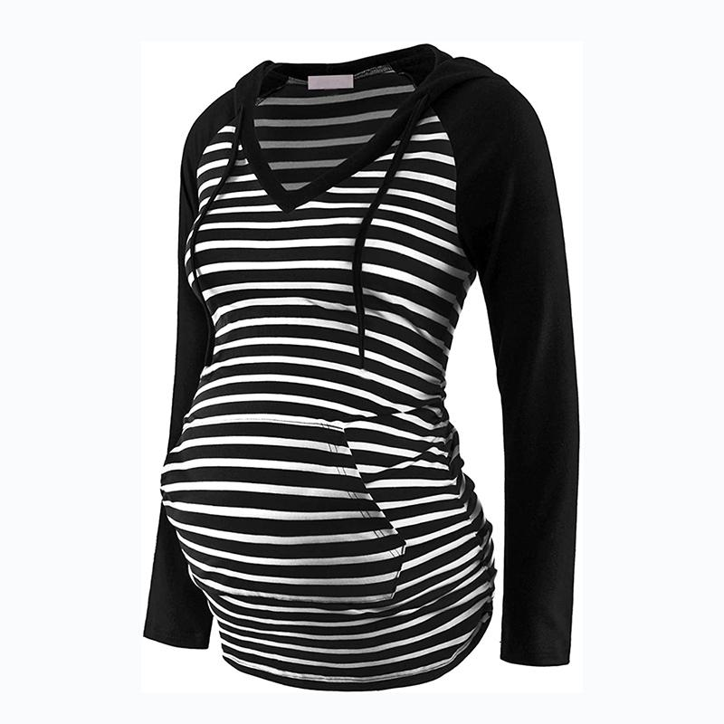 Pregnant Mom Striped Long-sleeve Hooded T-shirt