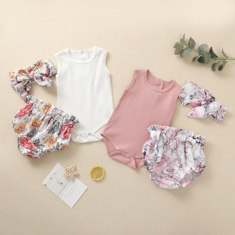 3-piece Romper & Floral Headband & Floral Shorts for Baby Girl