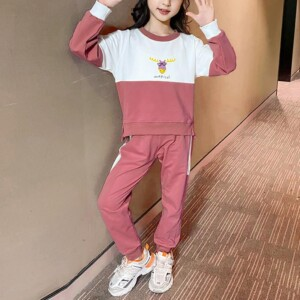 2-piece Color-block Sweatshirt & Pants for Girl
