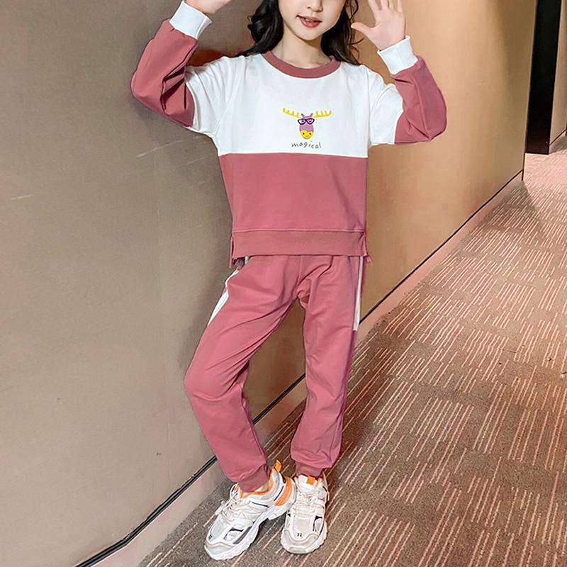 2-piece Color-block Sweatshirt & Pants for Girl