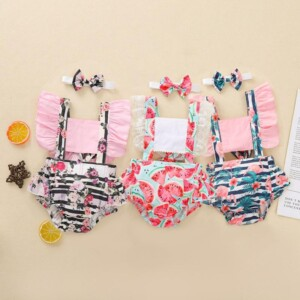 2-piece Floral Bodysuit & Headband for Baby Girl