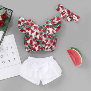 3-piece Watermelon Pattern T-shirt & Shorts & Headband for Baby Girl