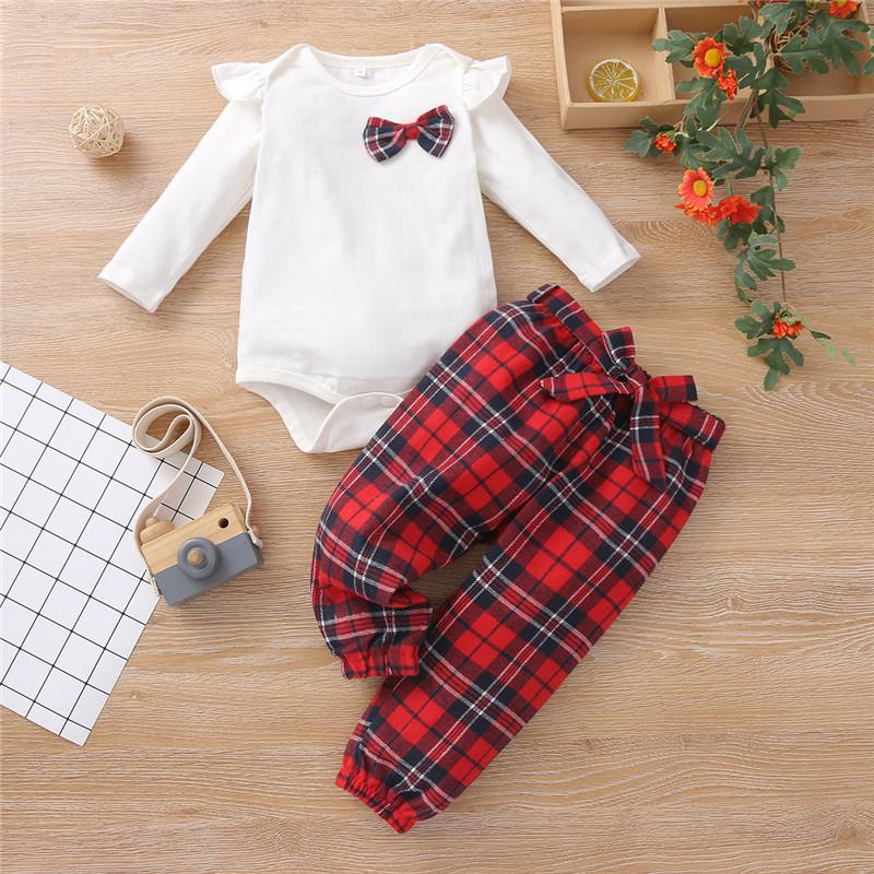 2-piece Ruffle Romper & Plaid Pants for Baby Girl