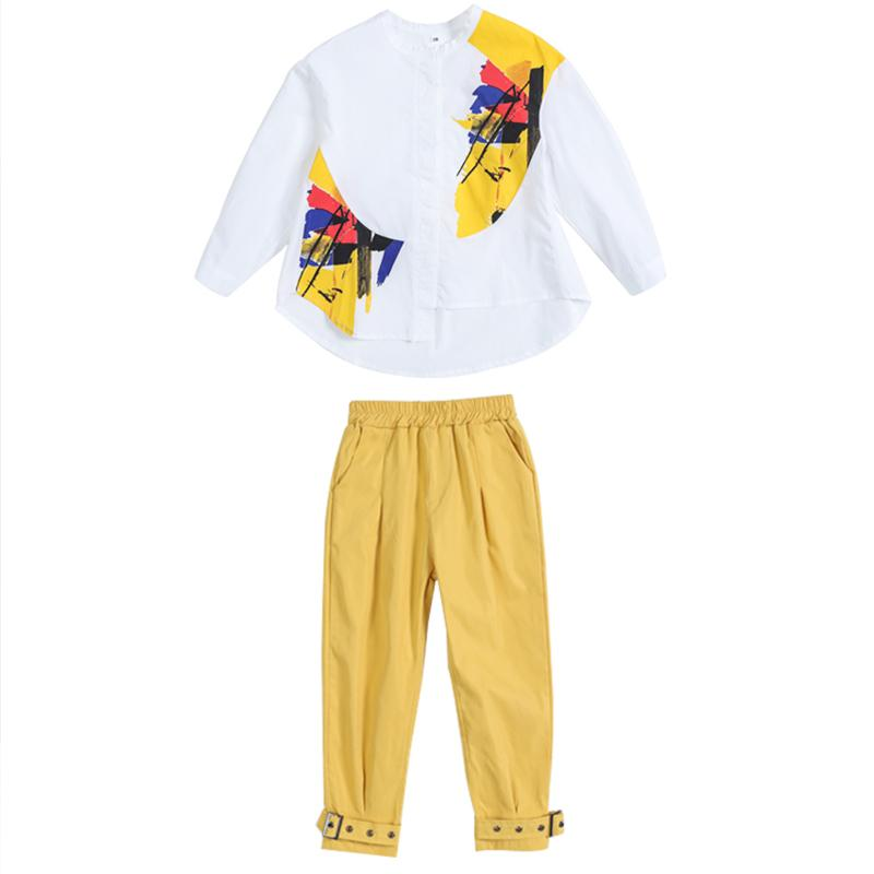2-piece Color-block Shirt & Pants for Girl