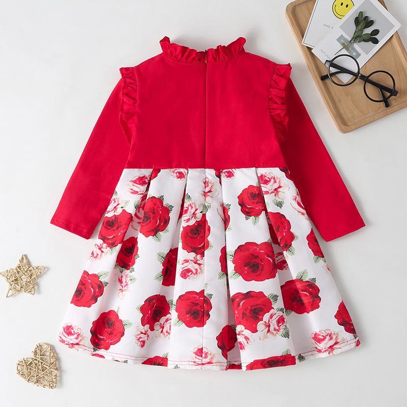 Ruffle Crimson Dress for Toddler Girl