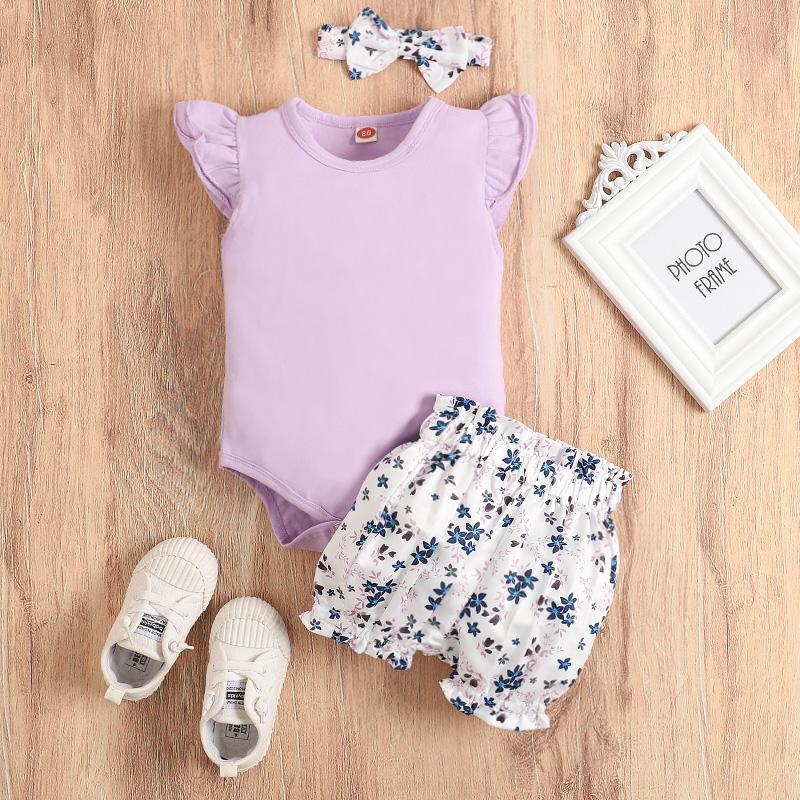 3-piece Romper & Shorts & Headband for Baby Girl