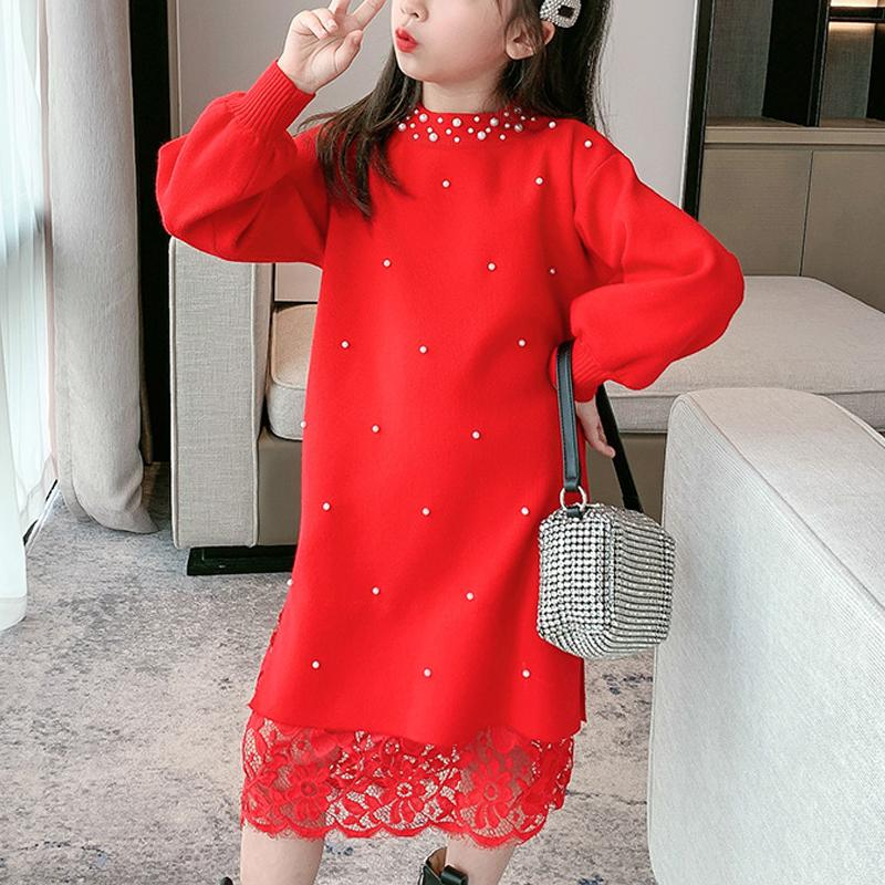 Sweet Solid Sweater Dress for Girls