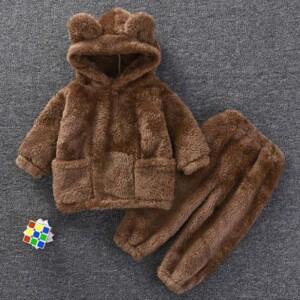 2-piece Plush Hoodie & Pants for Toddler Boy