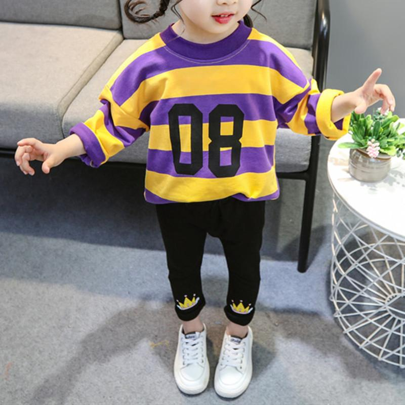 2-piece Colored Striped Sweatshirt & Pants for Toddler Girl