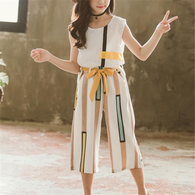 2-piece Color-block Sleeveless T-shirt & Pants for Girl